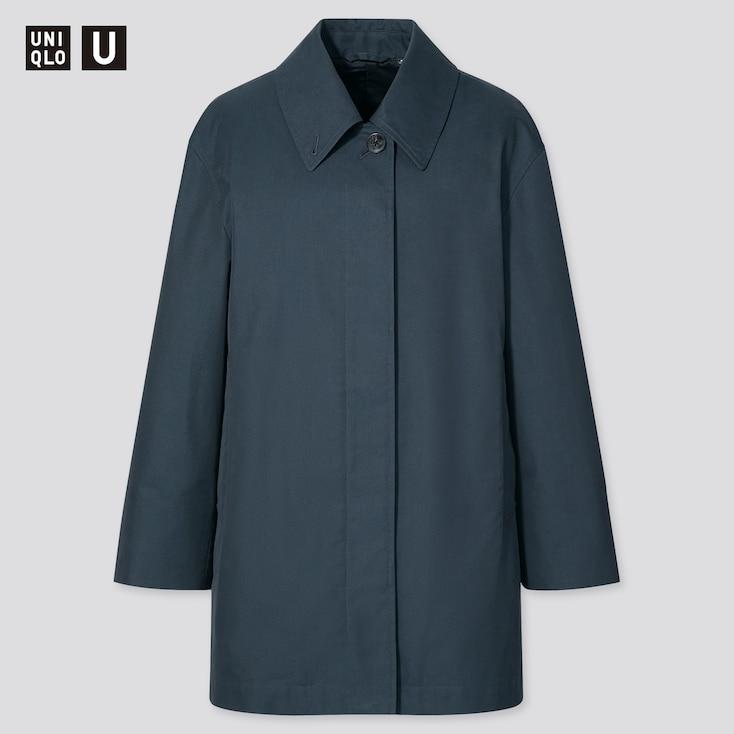 Women U Soutien Collar Short Coat, Blue, Large