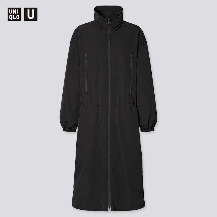 Women U Nylon Hooded Coat, Black, Large