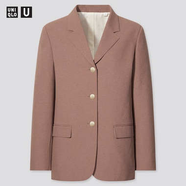Women U Tailored Jacket, Brown, Medium