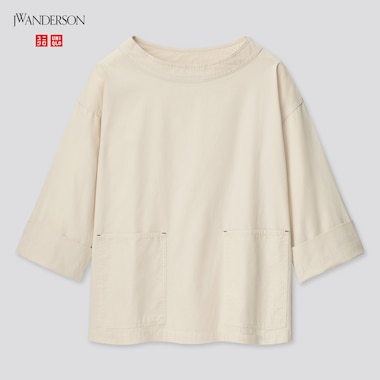 Women Cotton Relaxed 3/4-Sleeve Pullover (Jw Anderson), Natural, Medium