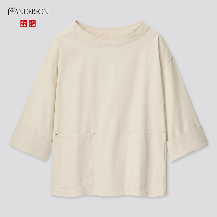 Women Cotton Relaxed 3/4-Sleeve Pullover (Jw Anderson), Natural, Large