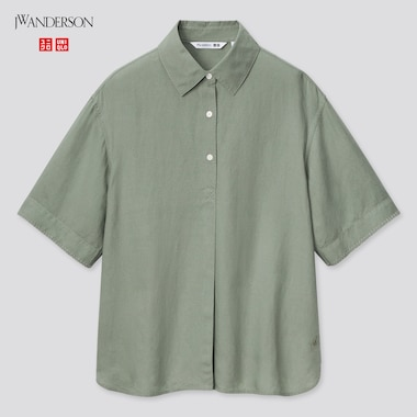 Women Linen-Blend Pullover Short-Sleeve Shirt (Jw Anderson), Green, Medium