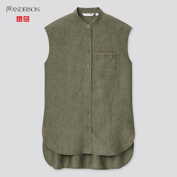 Women Linen Stand Collar Sleeveless Shirt (Jw Anderson), Olive, Large