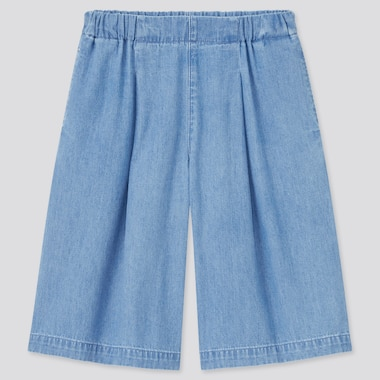 Girls Soft Denim Skirt Pants (Online Exclusive), Blue, Medium