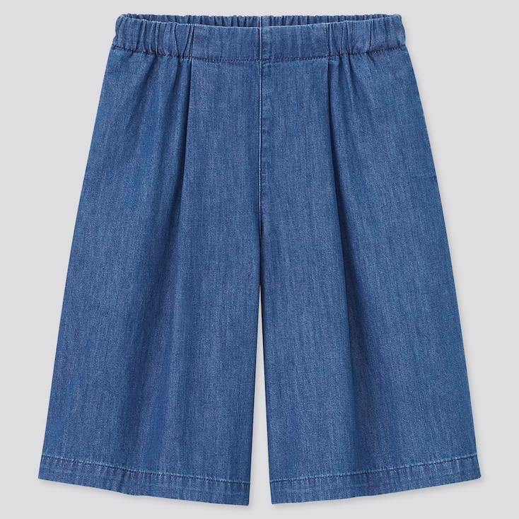 Girls Soft Denim Skirt Pants (Online Exclusive), Blue, Large