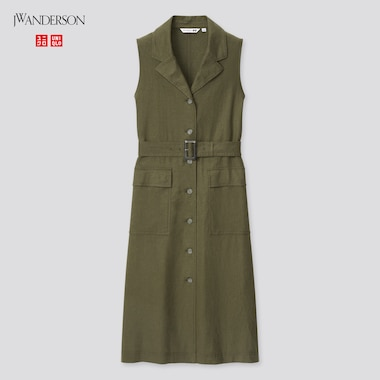 Women Linen-Blend Belted Sleeveless Lapel Dress (Jw Anderson), Olive, Medium