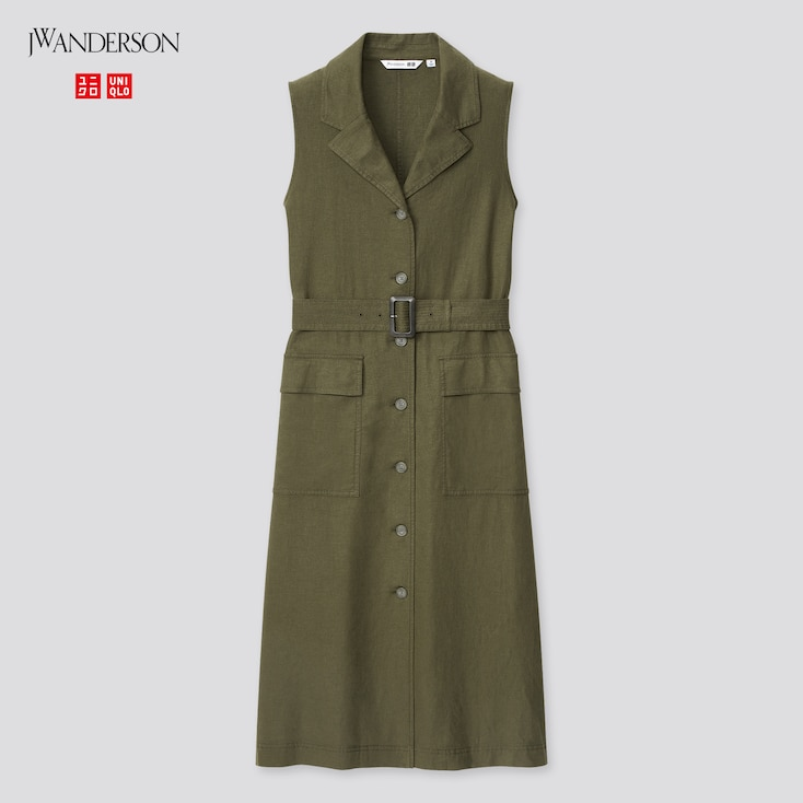 Women Linen-Blend Belted Sleeveless Lapel Dress (Jw Anderson), Olive, Large