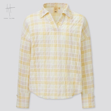 Women Hana Tajima Cotton Seersucker Checked Skipper Collar Shirt