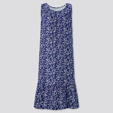 Damen Joy of Print Ärmelloses 100% Baumwoll Doppelgaze Loungekleid