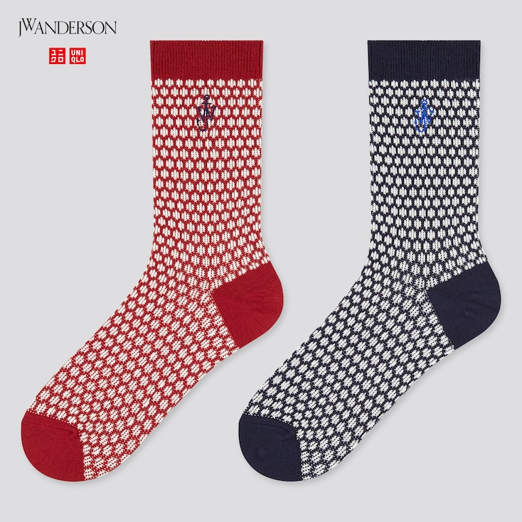 Women Heattech Socks (Set Of 2) (Jw Anderson), Red, Large