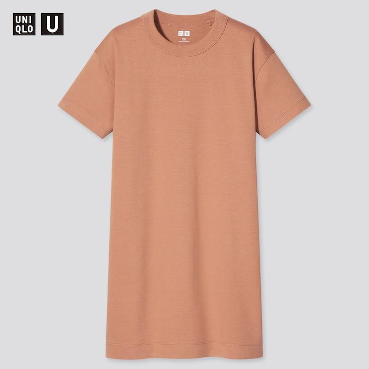 Girls U Crew Neck Short-Sleeve T-Shirt Dress, Orange, Large