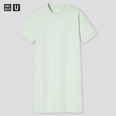 Girls U Crew Neck Short-Sleeve T-Shirt Dress, Light Green, Medium