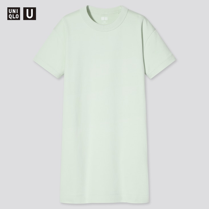 Girls U Crew Neck Short-Sleeve T-Shirt Dress, Light Green, Large