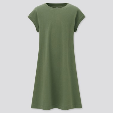 Vestito Cotone Liscio Maniche Alla Francese Bambina