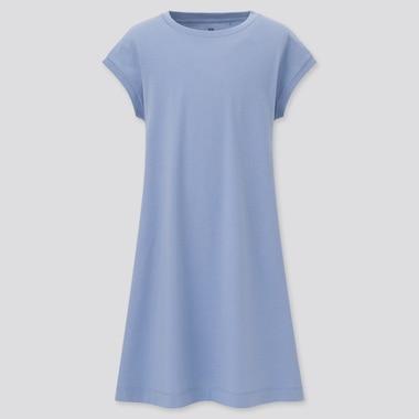 Girls Smooth Cotton French Sleeve A-Line Dress, Blue, Medium