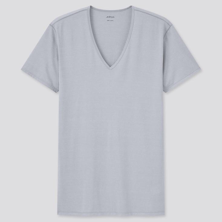 Men Airism V-Neck Short-Sleeve T-Shirt, Light Gray, Large