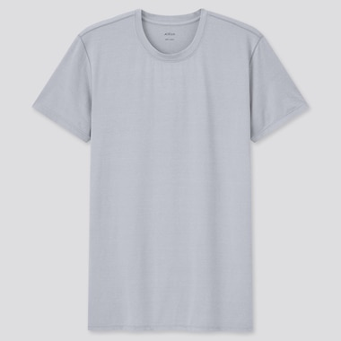 Men Airism Crew Neck Short-Sleeve T-Shirt, Light Gray, Medium