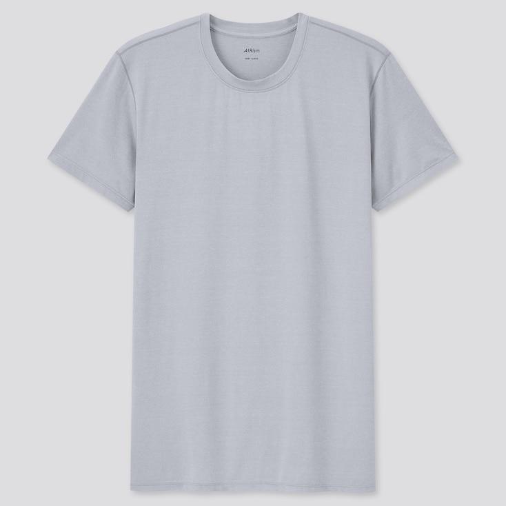 Men Airism Crew Neck Short-Sleeve T-Shirt, Light Gray, Large