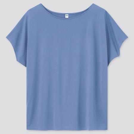 WOMEN Drape Crew Neck Short Sleeved T-Shirt