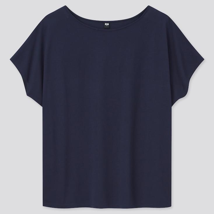 Women Drape Crew Neck Short-Sleeve T-Shirt, Navy, Large