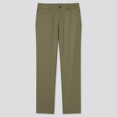 Women Linen Cotton Tapered Pants, Olive, Medium