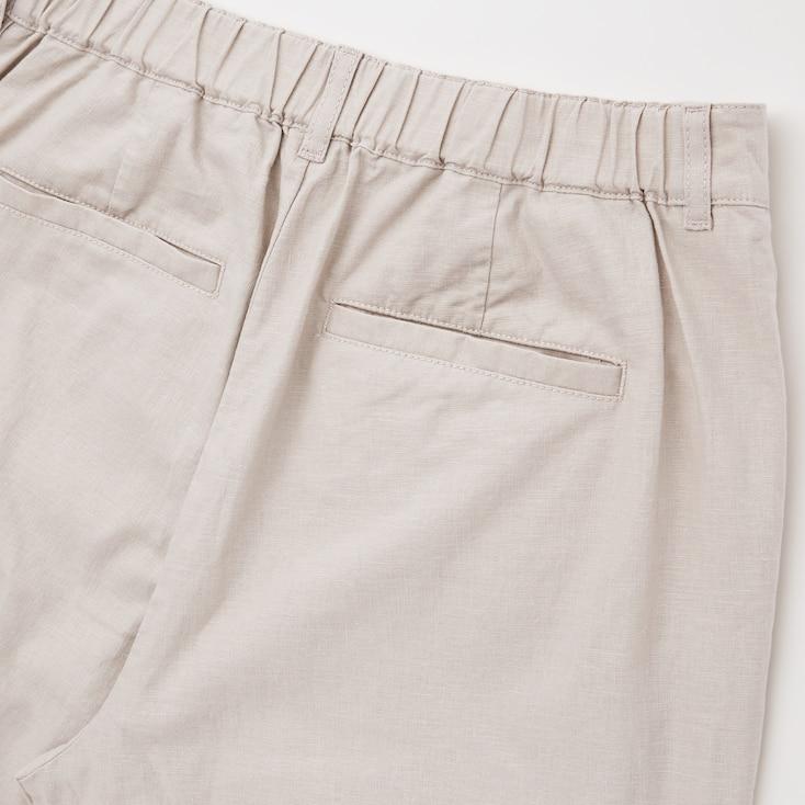 Women Linen Cotton Tapered Pants, Dark Gray, Large