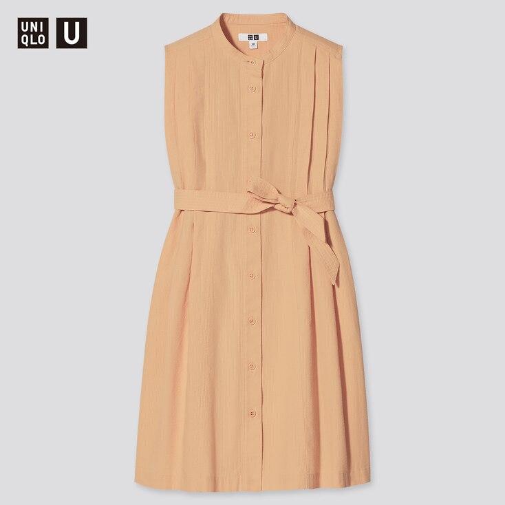 Girls U Seersucker Sleeveless Dress, Orange, Large