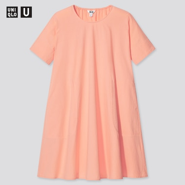 Girls U Seersucker Short-Sleeve Dress, Light Orange, Medium