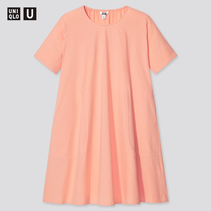 Girls U Seersucker Short-Sleeve Dress, Light Orange, Large