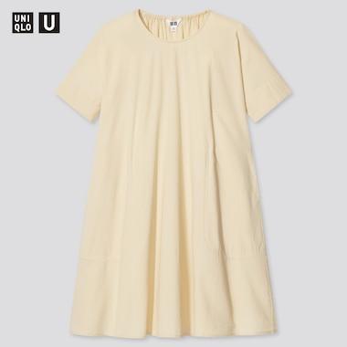 Girls U Seersucker Short-Sleeve Dress, Cream, Medium