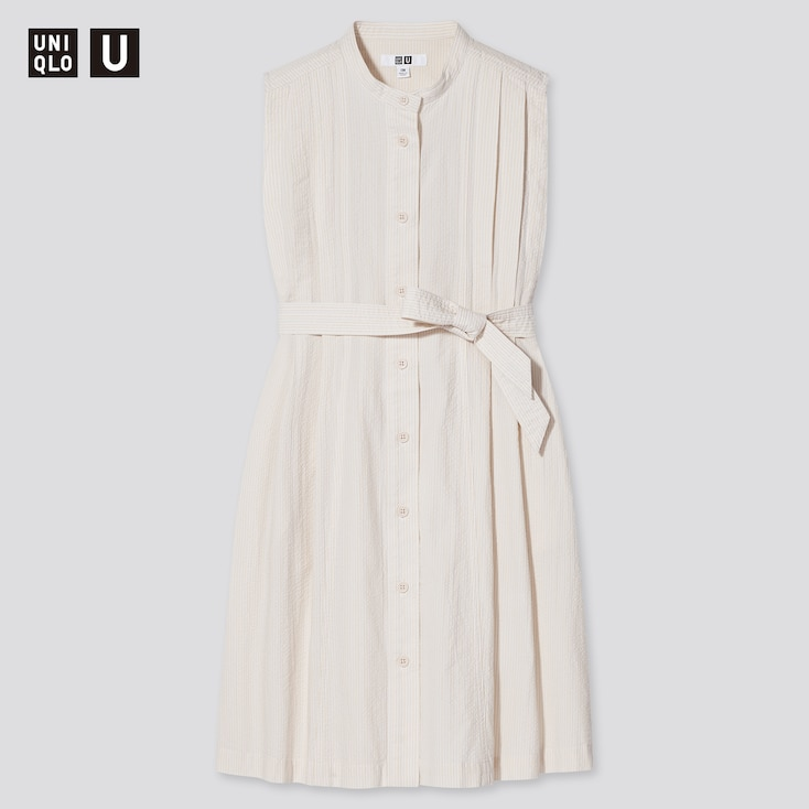 Girls U Striped Sleeveless Dress, Natural, Large