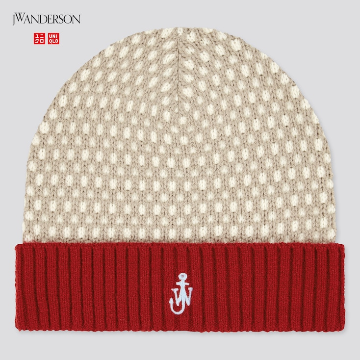 Kids Heattech Knitted Cap (Jw Anderson), Red, Large