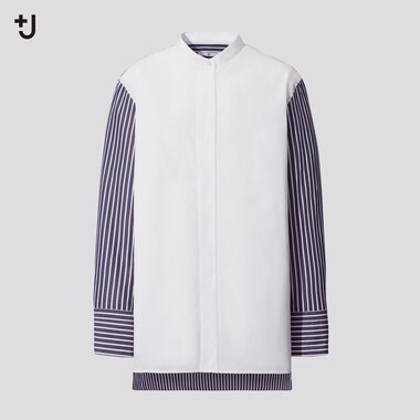 Women +J Supima Cotton Stand Collar Striped Shirt