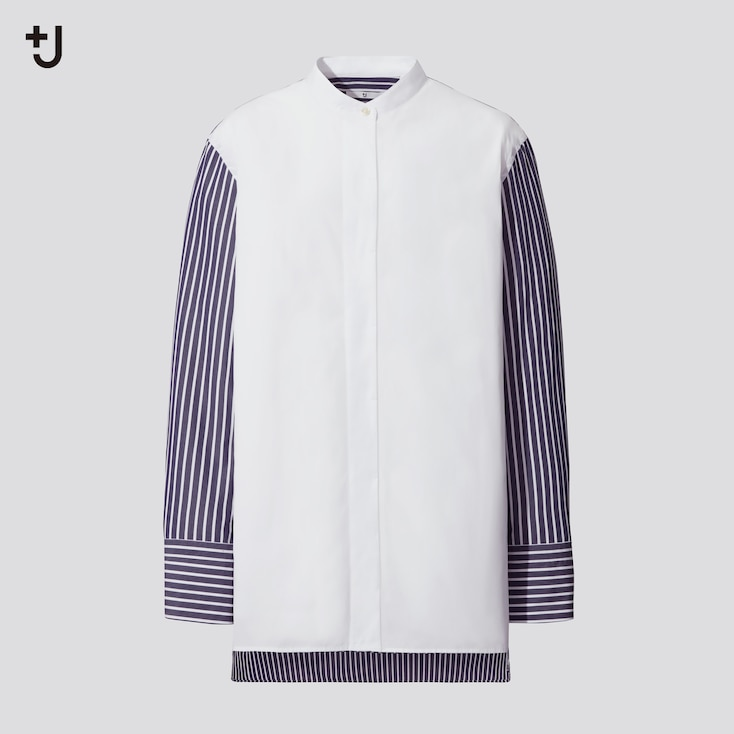 Women +J Supima Cotton Stand Collar Long-Sleeve Shirt, Blue, Large