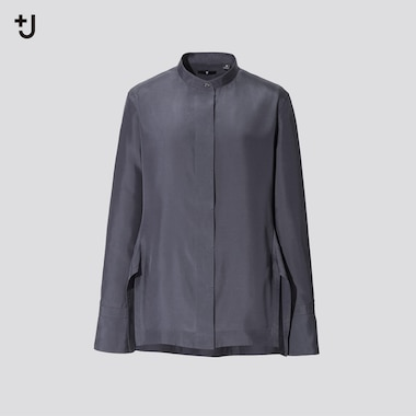 Women +J Silk Grandad Collar Shirt