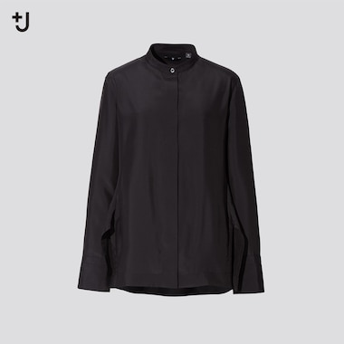 Women +J Silk Stand Collar Long-Sleeve Shirt, Black, Medium