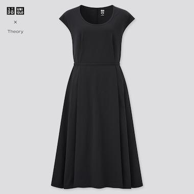 Women Ultra Stretch A-Line Short-Sleeve Dress (Theory), Black, Medium