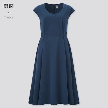 Women Ultra Stretch A-Line Short-Sleeve Dress (Theory), Blue, Medium
