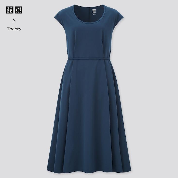 Women Ultra Stretch A-Line Short-Sleeve Dress (Theory), Blue, Large