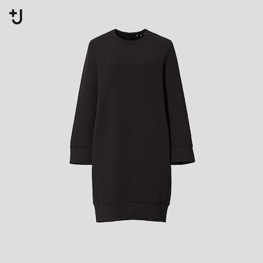 Women +J Dry Sweat Long-Sleeve Dress, Black, Medium