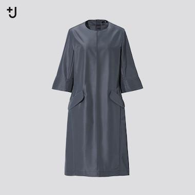 Women +J Silk-Blend Half-Sleeve Dress, Dark Gray, Medium