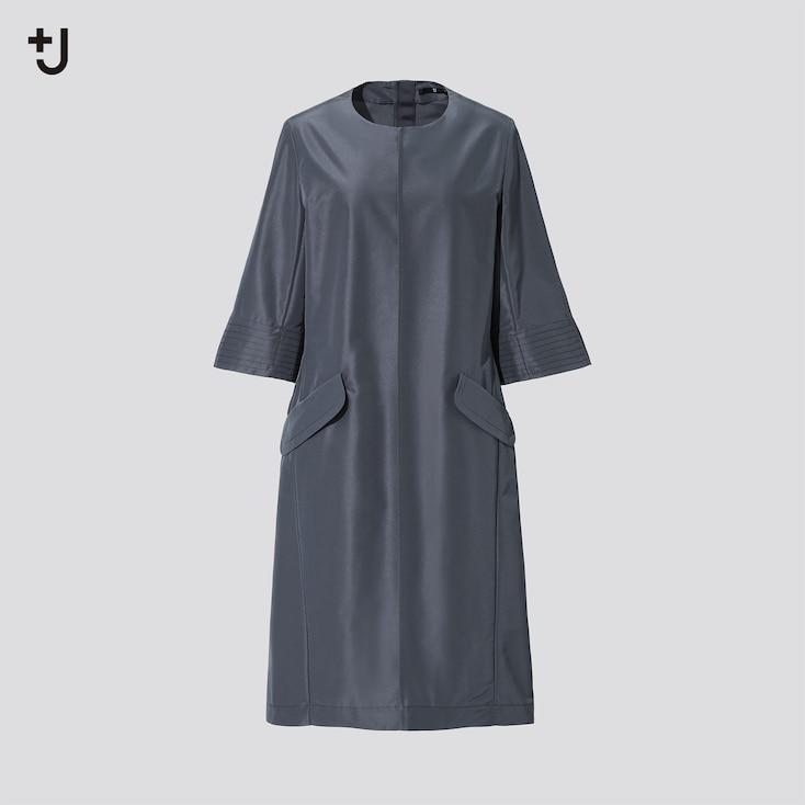 Women +J Silk-Blend Half-Sleeve Dress, Dark Gray, Large
