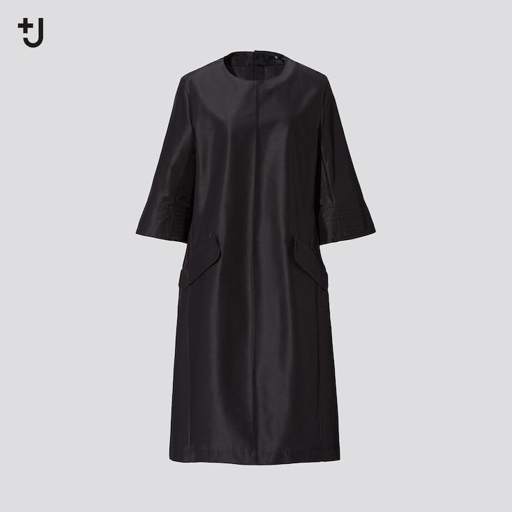 Women +J Silk-Blend Half-Sleeve Dress, Black, Large