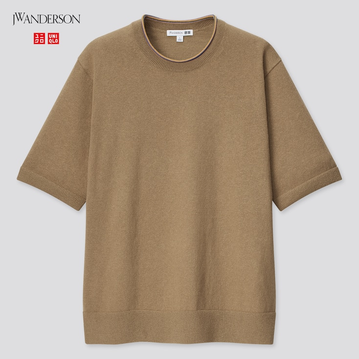 Men Linen-Blend Crew Neck Short-Sleeve Sweater (Jw Anderson), Beige, Large