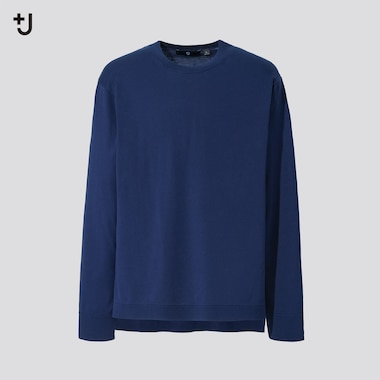 Men +J Silk Cotton Crew Neck Long-Sleeve Sweater, Blue, Medium