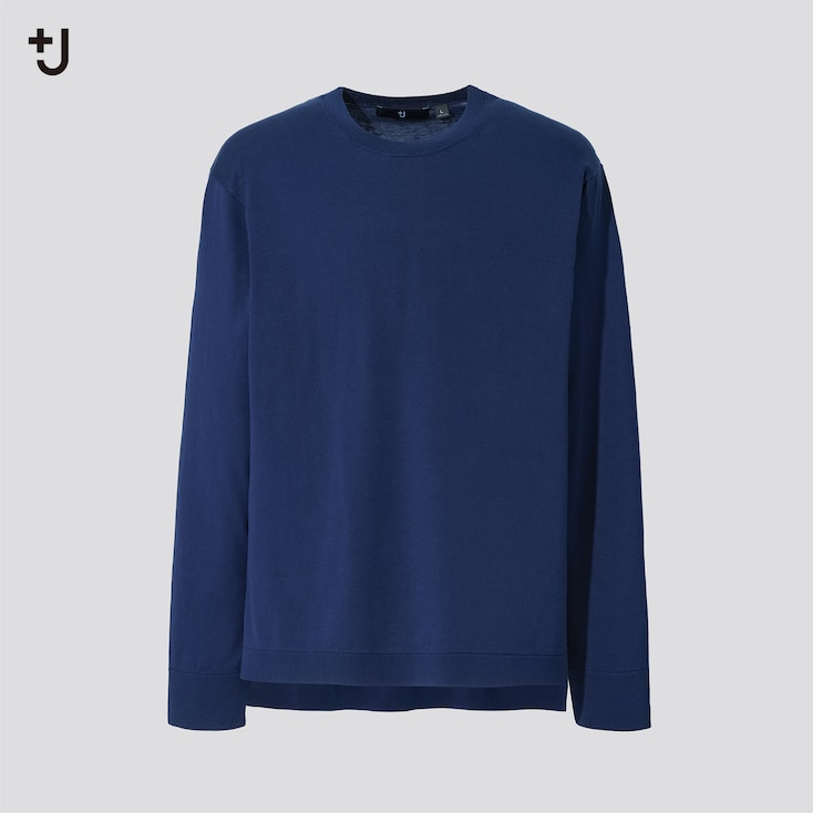 Men +J Silk Cotton Crew Neck Long-Sleeve Sweater, Blue, Large