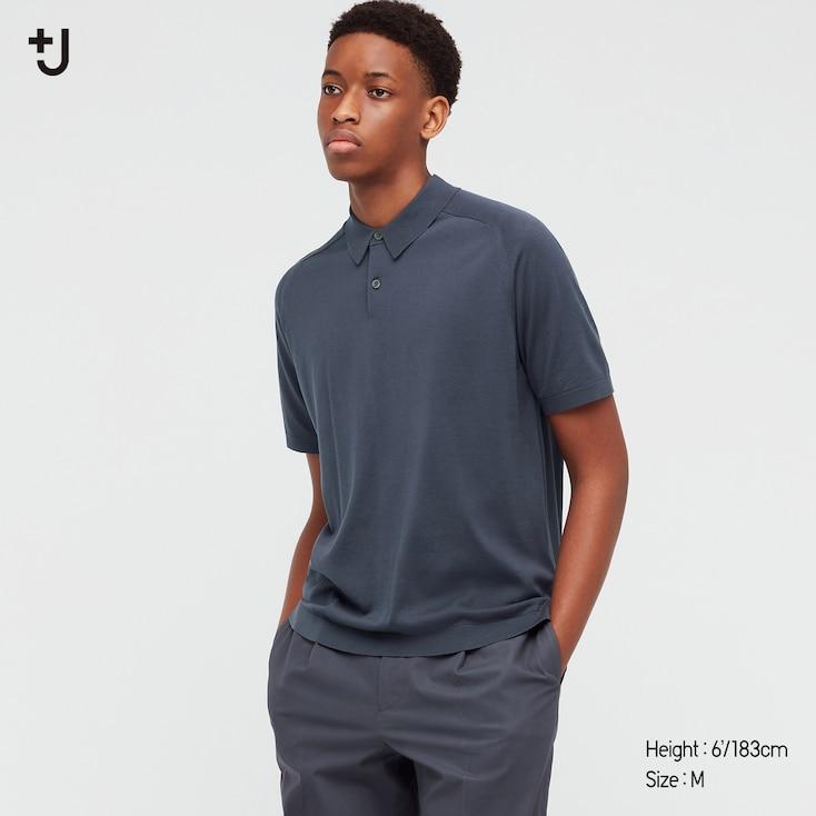 Men +J Silk-Cotton Knitted Short-Sleeve Polo Shirt, Gray, Large