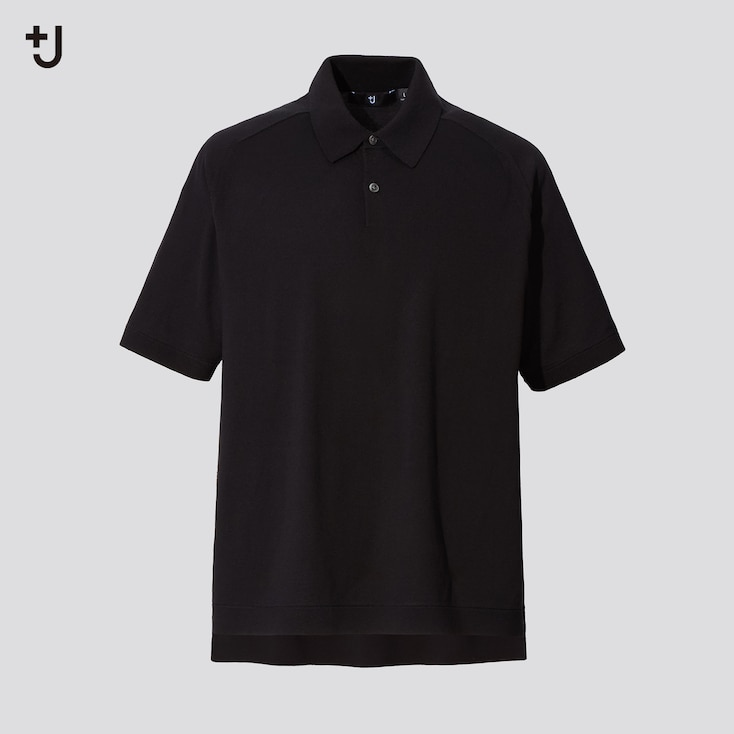 Men +J Silk-Cotton Knitted Short-Sleeve Polo Shirt, Black, Large