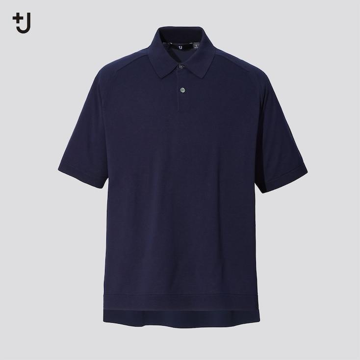 Men +J Silk-Cotton Knitted Short-Sleeve Polo Shirt, Navy, Large