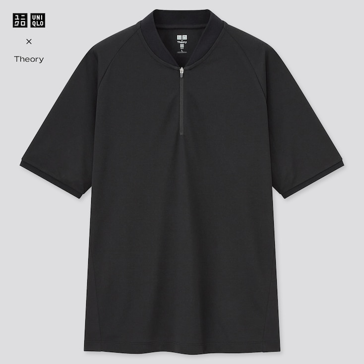 Men Dry-Ex Pique Slim-Fit Half-Zip Polo Shirt (Theory), Black, Large